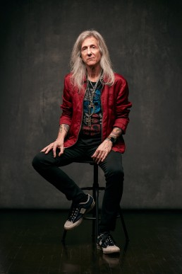Dallas Portrait Photographer - Studio portrait of stylish long hair old man and tattooed guitarist