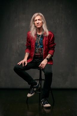 Dallas Portrait Photographer - Studio portrait of stylish long hair old man and tattooed guitarist