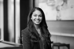Classic black and white headshot of female executive at major real estate developer Big