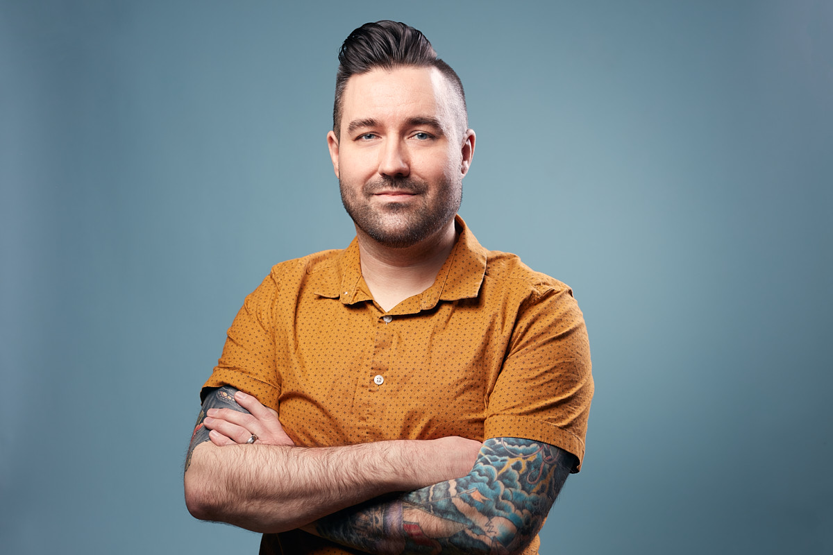 Colorful Headshots of Tattooed Man at Dallas Healthcare Financing Company Covered Care