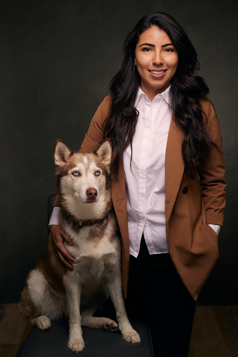 Business Headshots of Female Entrepreneur with her Dog in Austin Texas