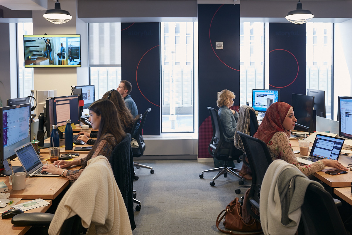 Interior Photography of Women Working in NYC Office of Storyful