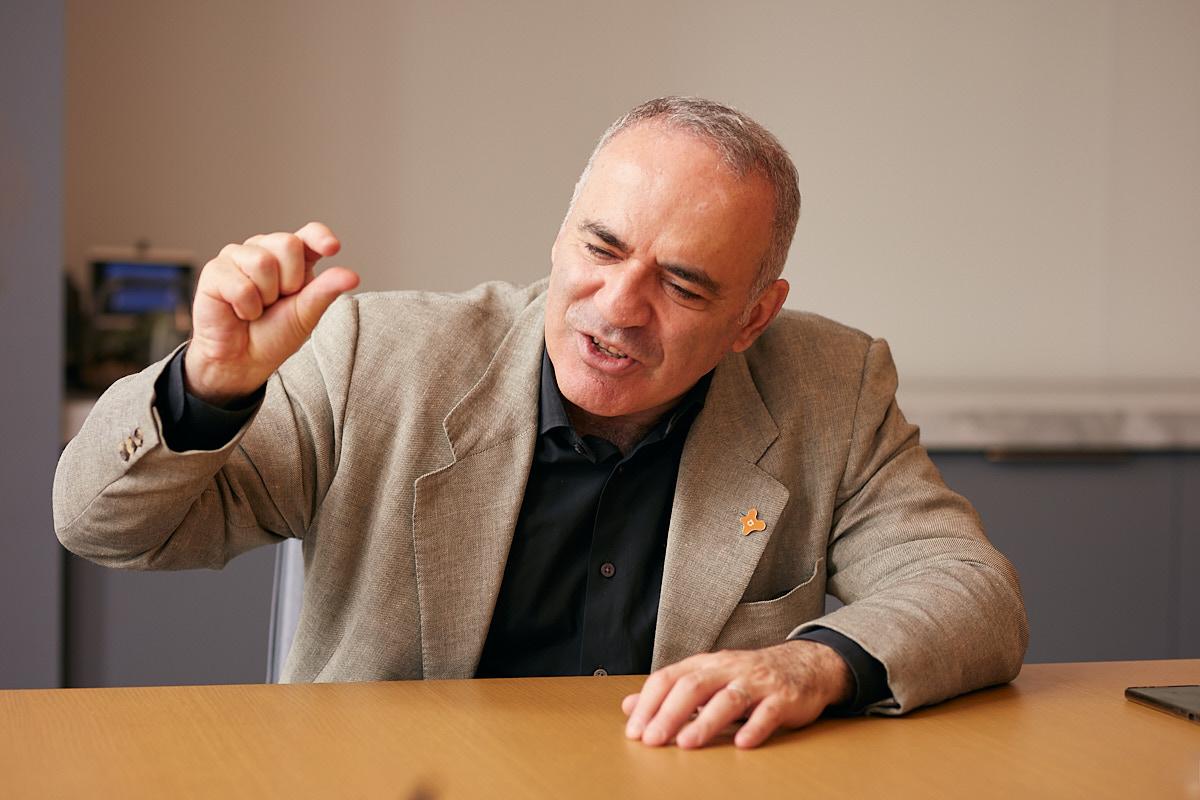 Eccentric Portrait of Russian Chess Grandmaster Garry Kasparov in New York City